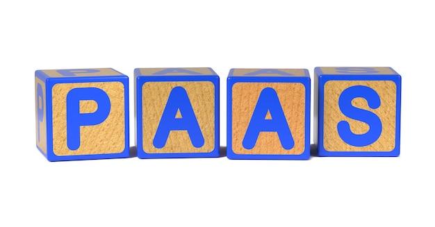 Paas sul blocco di alfabeto per bambini in legno colorato isolato su bianco.