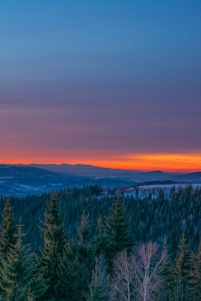 Pacificante paesaggio nella valle di montagna con foreste di abete rosso e cumuli di neve sullo sfondo senza tramonto e cielo blu con nuvole