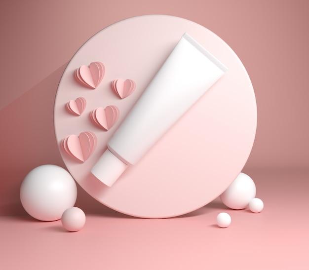 Il cosmetico d'imballaggio del tubo bianco con il fondo rosa astratto 3d di colore rende
