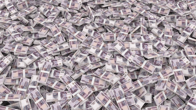 Imballaggio di banconote in tagli da cinquecento rubli per l'intero telaio