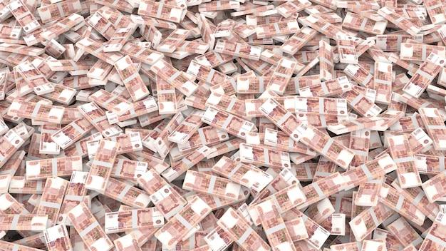 Imballaggio di banconote in tagli da cinquemila rubli per l'intero telaio