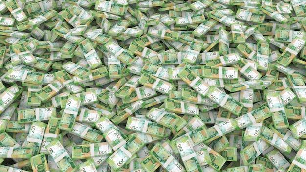 Imballaggio di banconote in tagli da duecento rubli per l'intero telaio