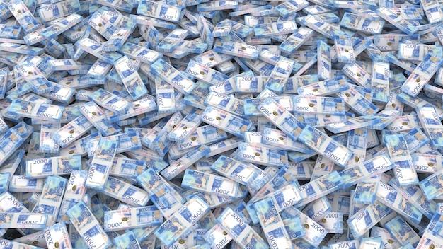 Imballaggio di banconote in tagli da duemila rubli per l'intero telaio