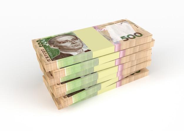 La grivna ucraina dei soldi dei pacchetti si trova su a vicenda isolata su bianco