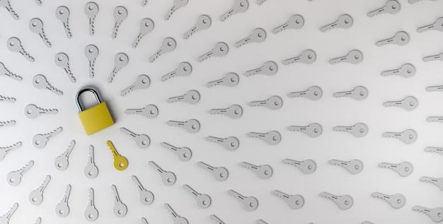 Lucchetto chiuso con chiavi. problemi e soluzioni concetto. riservatezza, sicurezza. illustrazione 3d.