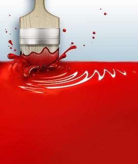 Pennello con una spruzzata di vernice rossa d immagine