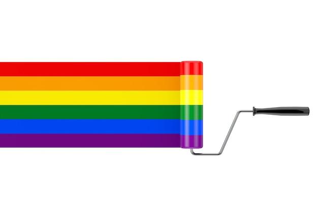 Pennello a rullo di vernice con bandiera arcobaleno lgbt su sfondo bianco. rendering 3d