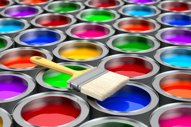 Pennello e lattine con colore. illustrazione 3d