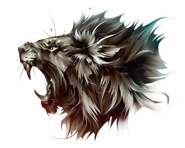 Ritratto dipinto a colori della faccia di leone su sfondo bianco