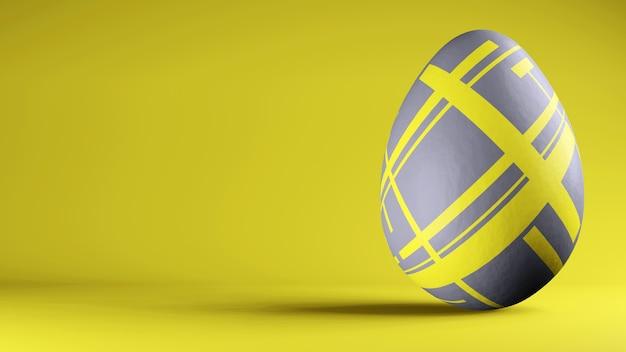 Uovo di pasqua dipinto nei colori di tendenza 2021 illuminating e ultimate grey