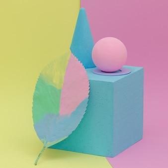Foglia dipinta e astrazione geometrica. minimal arte piatta autunnale