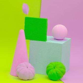 Zucca dipinta e astrazione geometrica. arte creativa piatta autunnale minimale