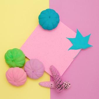 Zucche dipinte composizione autunno. design minimale delle stagioni autunnali piatto alla vaniglia