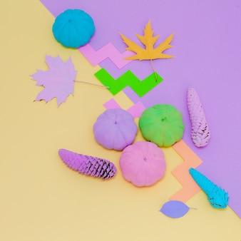 Zucche dipinte autunno composizione creativa. arte minimalista delle stagioni autunnali piatta