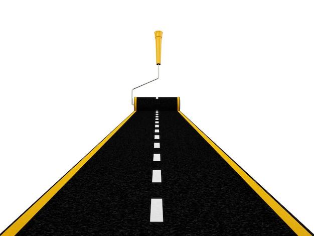 Strada verniciata con spazzola a rullo