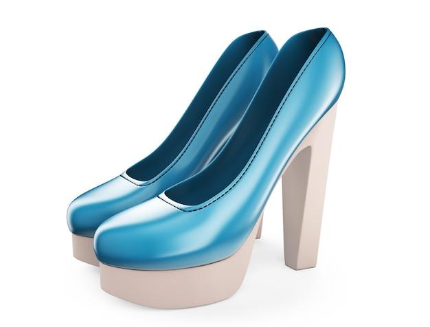 Un paio di scarpe col tacco alto da donna di colore blu illustrazione 3d