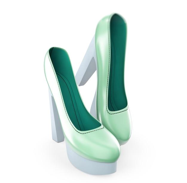 Un paio di scarpe col tacco alto da donna a colori illustrazione 3d
