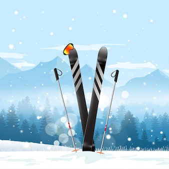 Paio di sci di fondo nella neve. fondo del paesaggio della montagna di inverno dello sci. illustrazione.