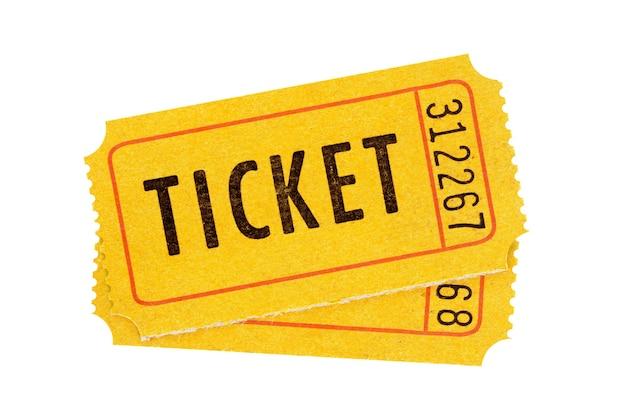 Accoppiare i biglietti arancioni isolati sullo sfondo bianco