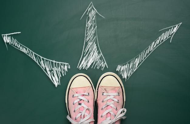 Coppia di scarpe da ginnastica rosa su una superficie verde e frecce disegnate in direzioni uguali in gesso bianco, vista dall'alto. il concetto di difficoltà a fare una scelta, incertezza, percorso di vita