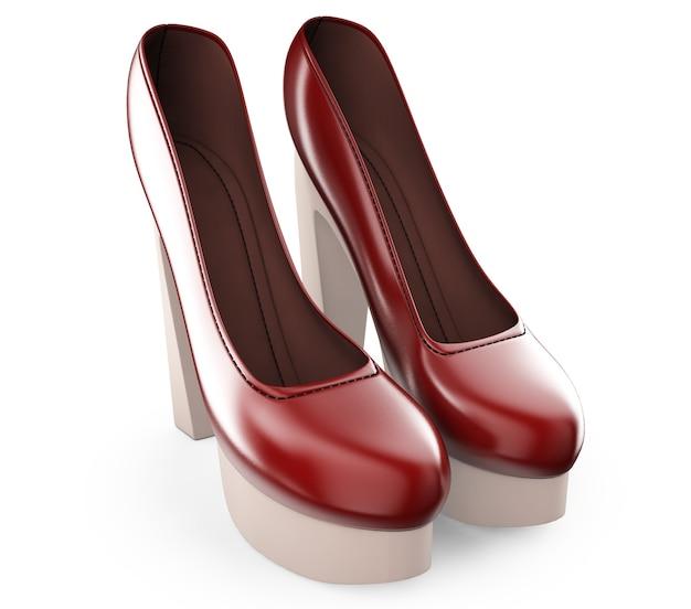 Un paio di scarpe col tacco alto da donna di colore rosso illustrazione 3d