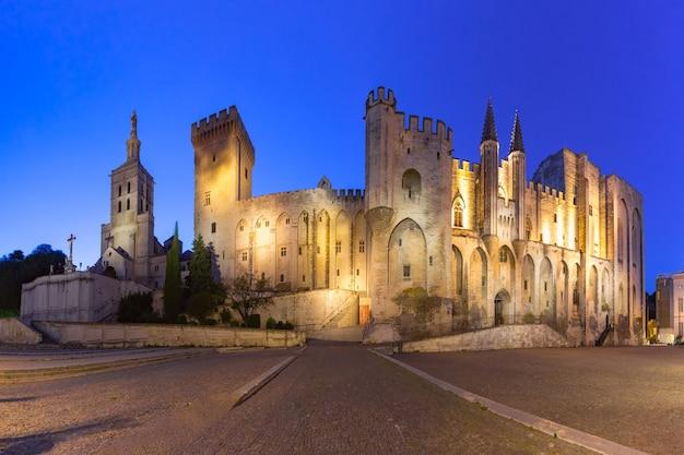 Palazzo dei papi, un tempo fortezza e palazzo, uno dei più grandi e importanti edifici gotici medievali in europa e cattedrale di avignone durante l'ora blu serale, avignone, francia meridionale