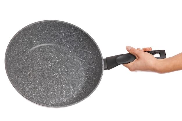Pan in mano su uno sfondo bianco