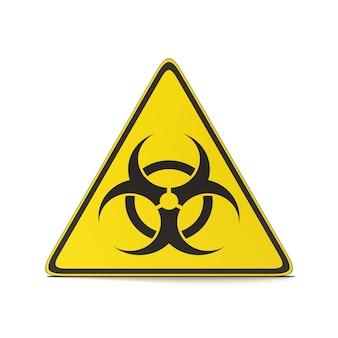 Triangolo di simbolo di pandemia su bianco