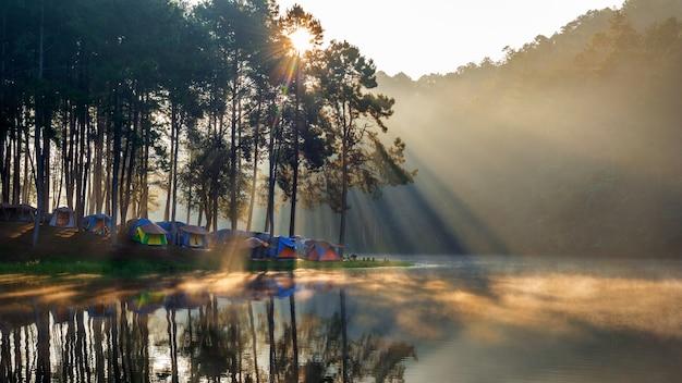 Lago pang ung con nebbia al mattino, mae hong son, thailandia