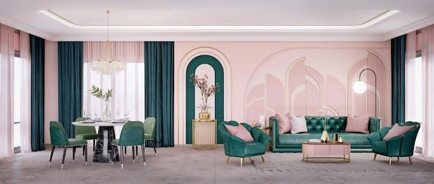 Panorama di soggiorno in stile art déco e zona pranzo con divano-poltrona