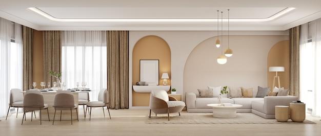Panorama di soggiorno di lusso e zona pranzo con poltrona