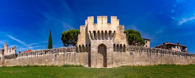 Panorama delle mura medievali della città di avignone, provenza, francia meridionale