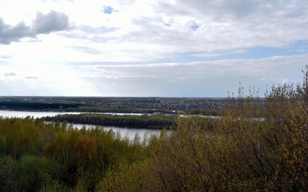 Panorama del fiume e della foresta sulla riva