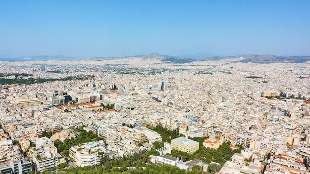 Panoramia della città di atene dall'alto, grecia