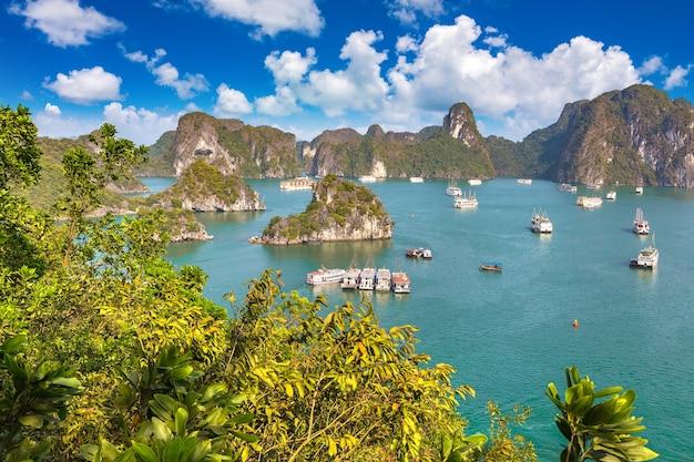 Vista aerea panoramica della baia di halong, vietnam
