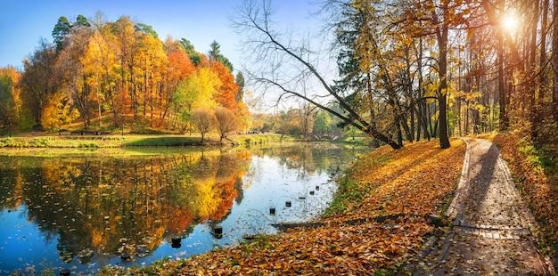Vista panoramica degli alberi variopinti di autunno e un percorso lungo lo stagno nel parco di tsaritsyno a mosca