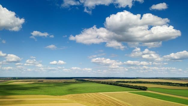 Vista panoramica dal drone di un bellissimo paesaggio con vegetazione di alberi, campi agricoli e prati sullo sfondo del cielo nuvoloso in una giornata estiva.