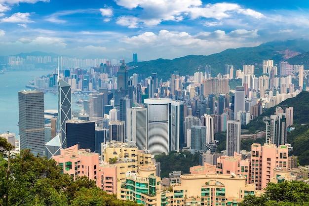 Vista panoramica del quartiere degli affari di hong kong, china