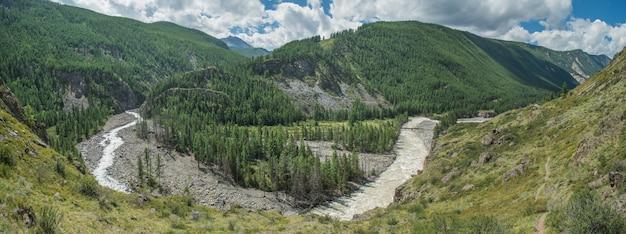Vista panoramica della valle di montagna con fiume, giornata di sole