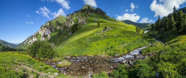 Vista panoramica di una valle di montagna con un ruscello in una giornata estiva