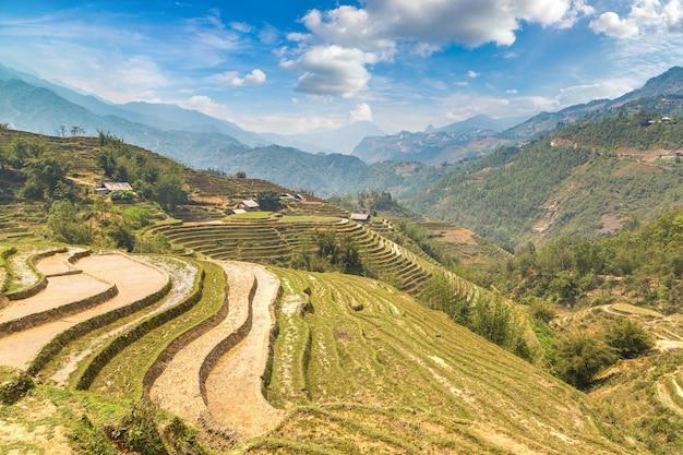 Vista panoramica del campo di riso terrazzato di sapa, lao cai, vietnam