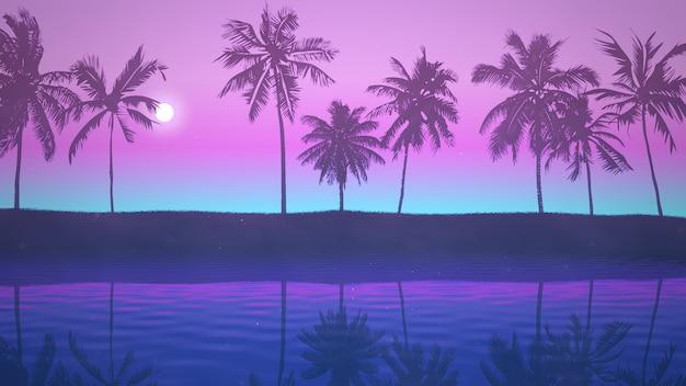 Vista panoramica del paesaggio tropicale con palme e tramonto, sfondo estivo. elegante e lussuosa illustrazione 3d in stile retrò anni '80 e '90