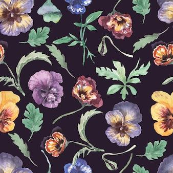 Viole del pensiero, fiori, fioritura, flora. modello senza cuciture, stampa, tessile. illustrazione dell'acquerello disegnato a mano viola, giallo, rosa