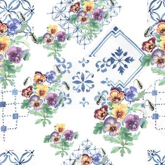 Pansies fiori sbocciano seamless pattern disegnati a mano illustrazione ad acquerello.