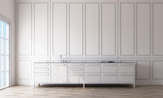Interiore della stanza dispensa con pareti bianche a motivo rettangolare e pavimento in legno chiaro.
