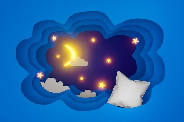 Arte di carta del cuscino e della luna stelle nuvole di notte
