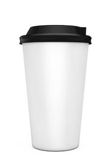 Tazza di caffè di carta su una priorità bassa bianca. rendering 3d.
