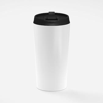 Tazza da caffè in carta con coperchio nero isolato su bianco con rendering 3d