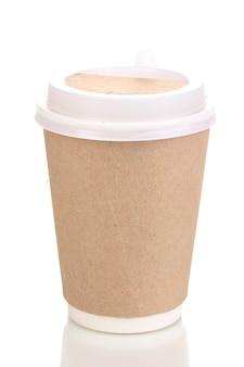 Tazza di caffè di carta isolata su white