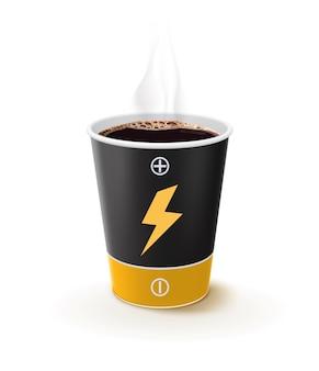 Tazza di caffè di carta come una batteria. metafora il caffè è potere per le persone. illustrazione 3d di vettore creativo